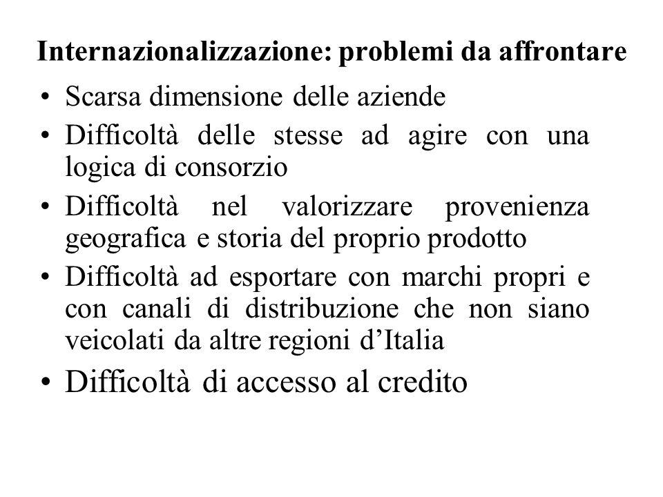 Internazionalizzazione: problemi da affrontare Scarsa dimensione delle aziende Difficoltà delle stesse ad agire con una logica di consorzio Difficoltà