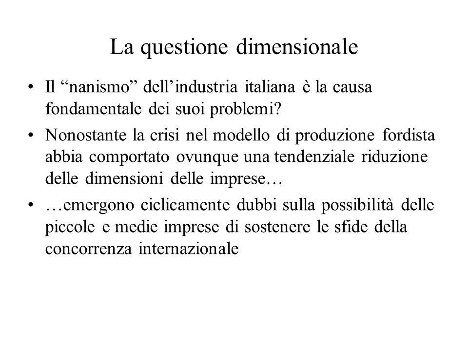 La questione dimensionale Il nanismo dellindustria italiana è la causa fondamentale dei suoi problemi? Nonostante la crisi nel modello di produzione f