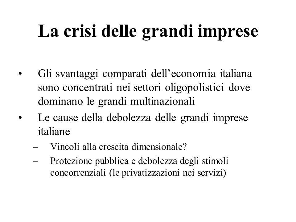 La crisi delle grandi imprese Gli svantaggi comparati delleconomia italiana sono concentrati nei settori oligopolistici dove dominano le grandi multin