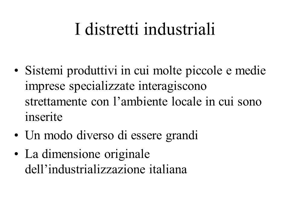 I distretti industriali Sistemi produttivi in cui molte piccole e medie imprese specializzate interagiscono strettamente con lambiente locale in cui s