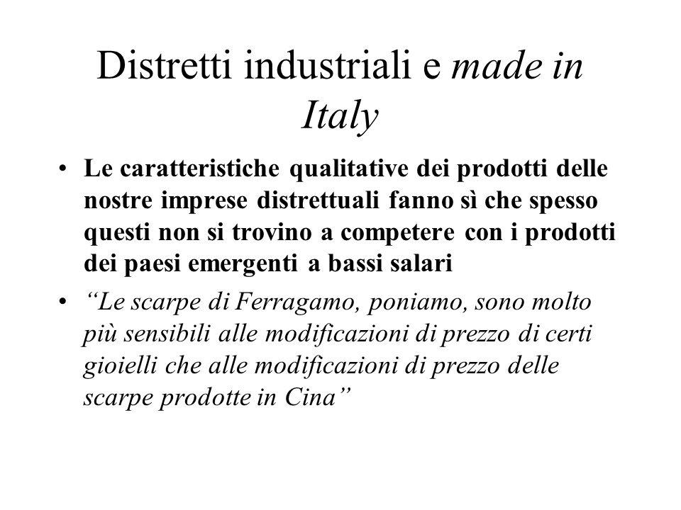 Distretti industriali e made in Italy Le caratteristiche qualitative dei prodotti delle nostre imprese distrettuali fanno sì che spesso questi non si