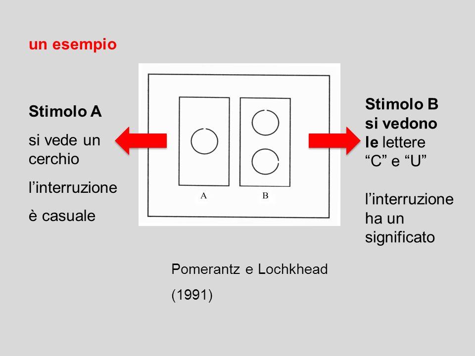 Pomerantz e Lochkhead (1991) un esempio Stimolo A si vede un cerchio linterruzione è casuale Stimolo B si vedono le lettere C e U linterruzione ha un