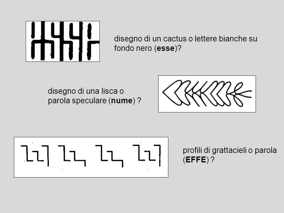 disegno di un cactus o lettere bianche su fondo nero (esse)? disegno di una lisca o parola speculare (nume) ? profili di grattacieli o parola (EFFE) ?