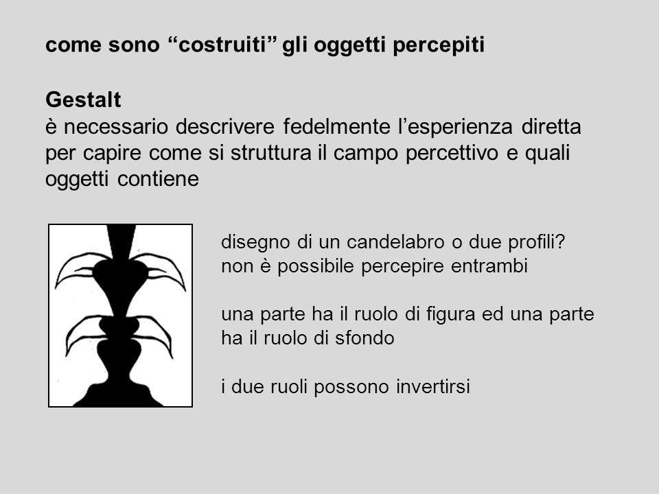 come sono costruiti gli oggetti percepiti Gestalt è necessario descrivere fedelmente lesperienza diretta per capire come si struttura il campo percett