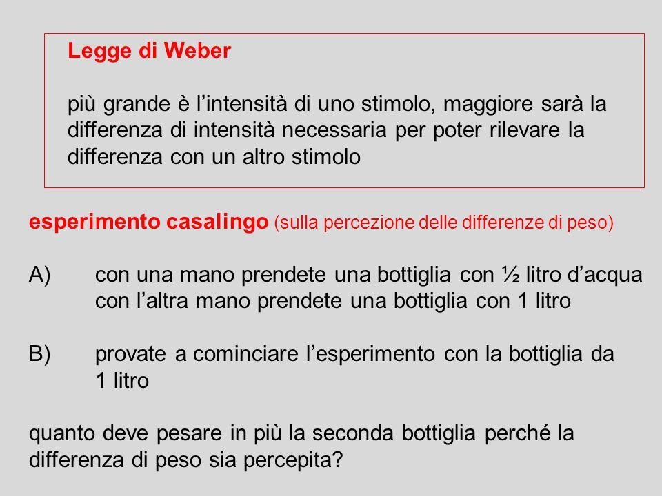 Legge di Weber più grande è lintensità di uno stimolo, maggiore sarà la differenza di intensità necessaria per poter rilevare la differenza con un alt