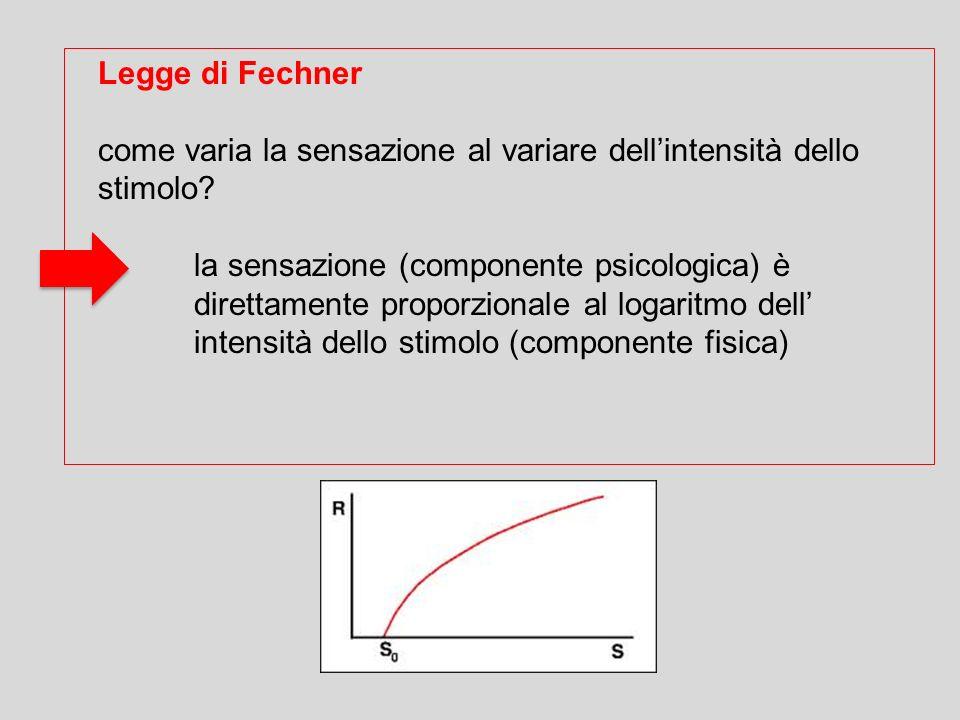 Legge di Fechner come varia la sensazione al variare dellintensità dello stimolo? la sensazione (componente psicologica) è direttamente proporzionale