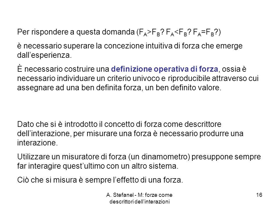 A. Stefanel - M: forze come descrittori dellinterazioni 16 Per rispondere a questa domanda (F A >F B ? F A <F B ? F A =F B ?) è necessario superare la