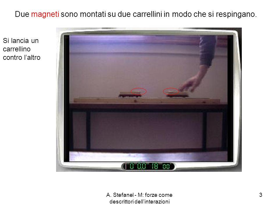 A. Stefanel - M: forze come descrittori dellinterazioni 3 Due magneti sono montati su due carrellini in modo che si respingano. Si lancia un carrellin