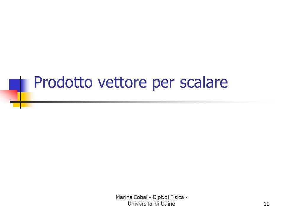 Marina Cobal - Dipt.di Fisica - Universita di Udine10 Prodotto vettore per scalare