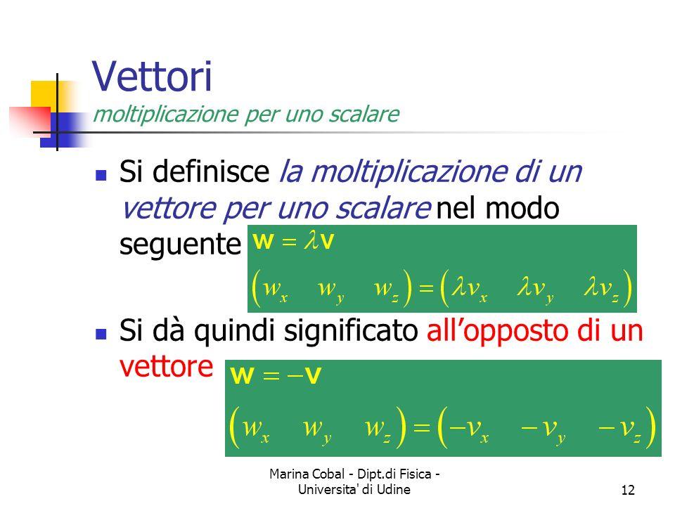 Marina Cobal - Dipt.di Fisica - Universita di Udine12 Vettori moltiplicazione per uno scalare Si definisce la moltiplicazione di un vettore per uno scalare nel modo seguente Si dà quindi significato allopposto di un vettore