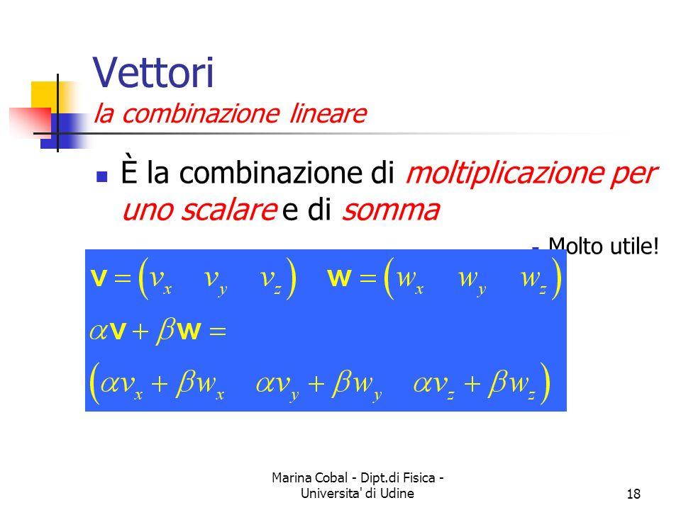 Marina Cobal - Dipt.di Fisica - Universita di Udine18 Vettori la combinazione lineare È la combinazione di moltiplicazione per uno scalare e di somma Molto utile!