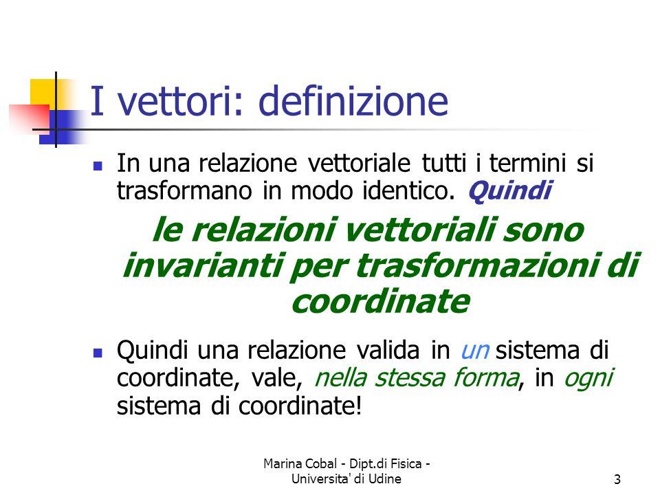 Marina Cobal - Dipt.di Fisica - Universita di Udine14 Somma di vettori Detta anche composizione