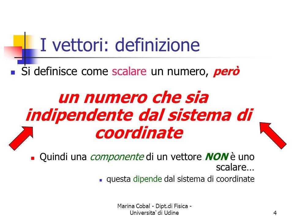 Marina Cobal - Dipt.di Fisica - Universita di Udine4 I vettori: definizione Si definisce come scalare un numero, però un numero che sia indipendente dal sistema di coordinate Quindi una componente di un vettore NON è uno scalare… questa dipende dal sistema di coordinate