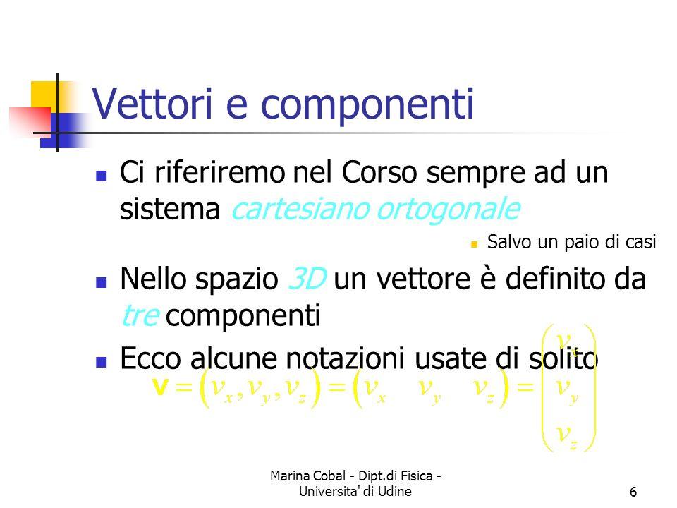 Marina Cobal - Dipt.di Fisica - Universita di Udine6 Vettori e componenti Ci riferiremo nel Corso sempre ad un sistema cartesiano ortogonale Salvo un paio di casi Nello spazio 3D un vettore è definito da tre componenti Ecco alcune notazioni usate di solito