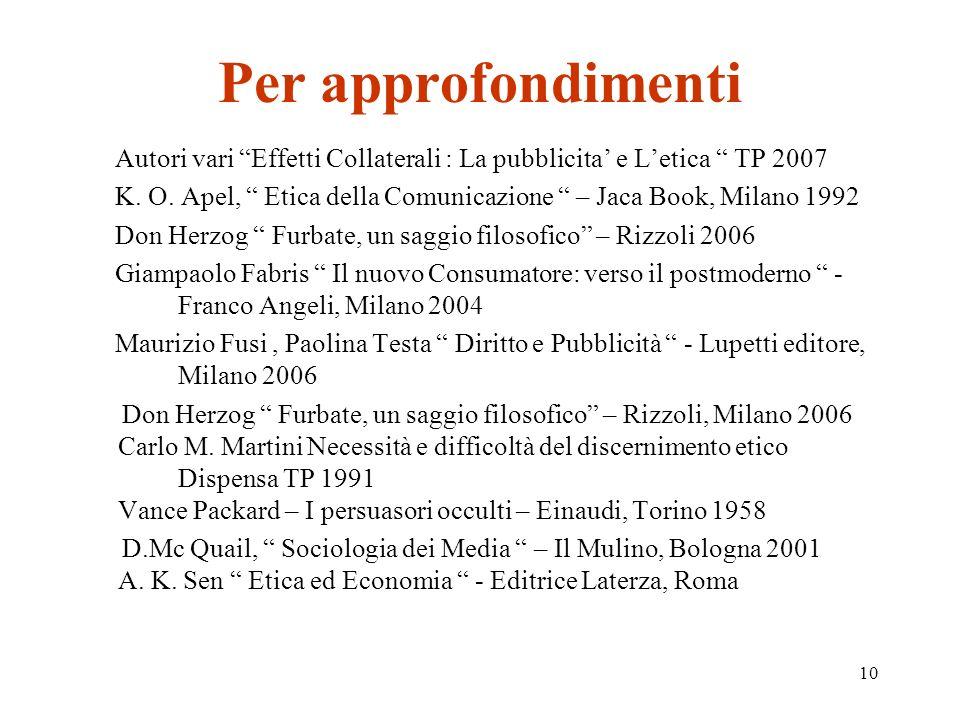 10 Per approfondimenti Autori vari Effetti Collaterali : La pubblicita e Letica TP 2007 K.