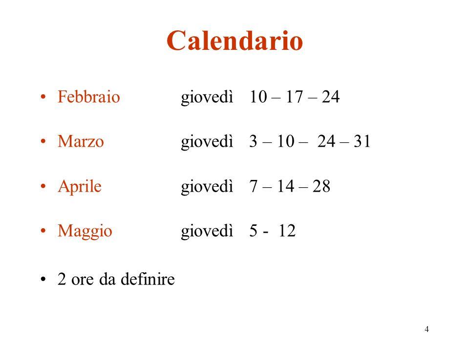 4 Calendario Febbraiogiovedì 10 – 17 – 24 Marzogiovedì 3 – 10 – 24 – 31 Aprilegiovedì 7 – 14 – 28 Maggiogiovedì 5 - 12 2 ore da definire