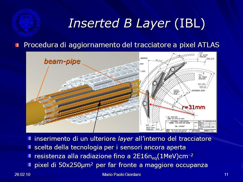 26.02.10 Mario Paolo Giordani 11 Inserted B Layer (IBL) Procedura di aggiornamento del tracciatore a pixel ATLAS inserimento di un ulteriore layer all