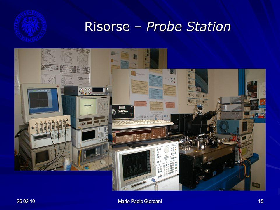 26.02.10 Mario Paolo Giordani 15 Risorse – Probe Station