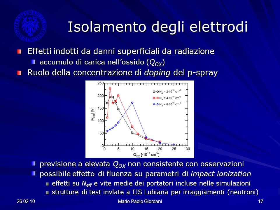 26.02.10 Mario Paolo Giordani 17 Effetti indotti da danni superficiali da radiazione accumulo di carica nellossido (Q OX ) Ruolo della concentrazione