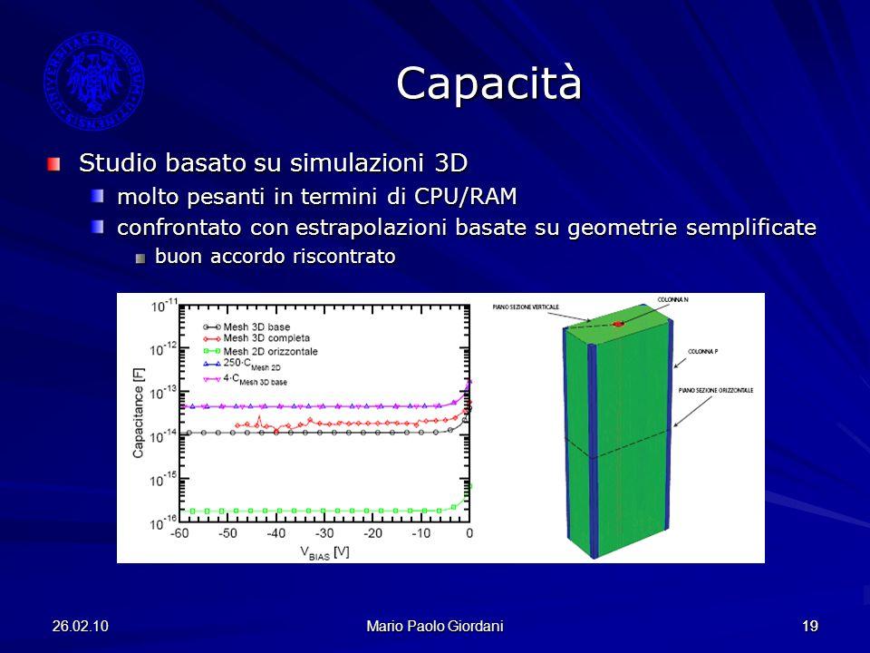 26.02.10 Mario Paolo Giordani 19 Studio basato su simulazioni 3D molto pesanti in termini di CPU/RAM confrontato con estrapolazioni basate su geometri