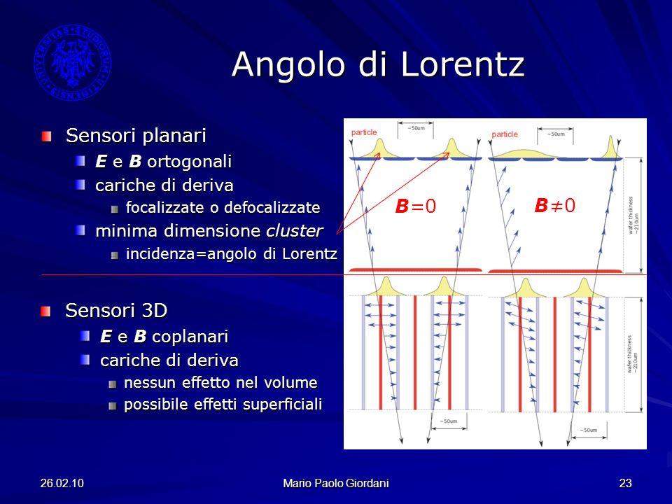 26.02.10 Mario Paolo Giordani 23 Angolo di Lorentz Sensori planari E e B ortogonali cariche di deriva focalizzate o defocalizzate minima dimensione cl