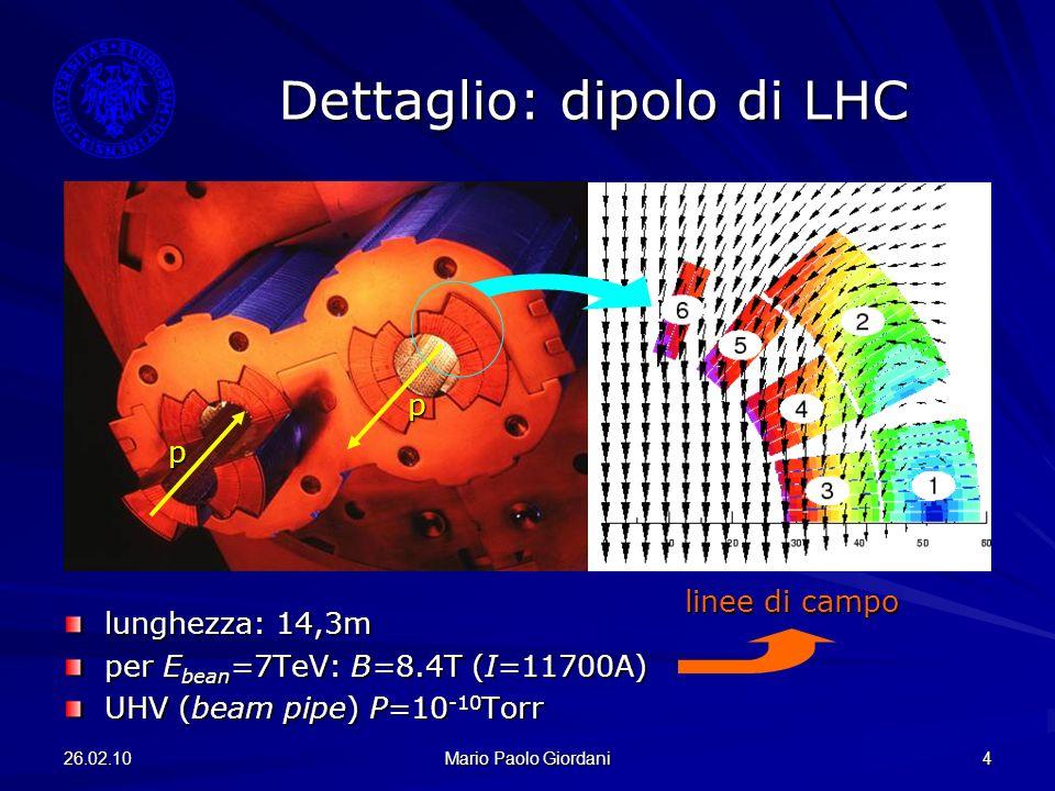 26.02.10 Mario Paolo Giordani 4 Dettaglio: dipolo di LHC lunghezza: 14,3m per E bean =7TeV: B=8.4T (I=11700A) UHV (beam pipe) P=10 -10 Torr p p linee