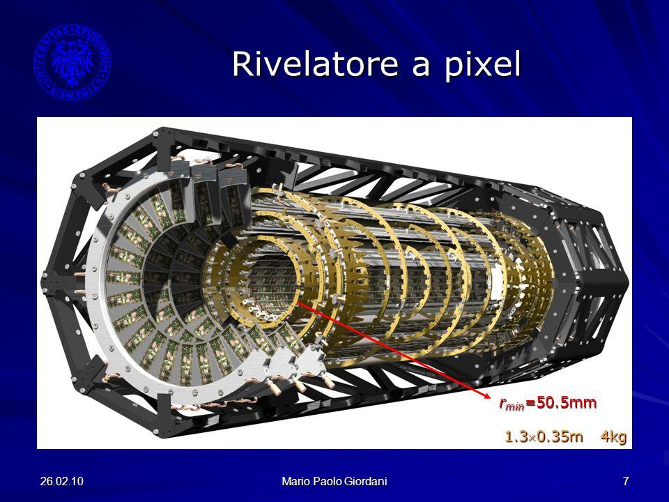 26.02.10 Mario Paolo Giordani 8 Modulo a pixel 1744 moduli identici 16 FE chip/modulo 160x18 pixel/modulo 80 milioni di canali 80 milioni di canali dimensioni singolo pixel 50x400µm 2