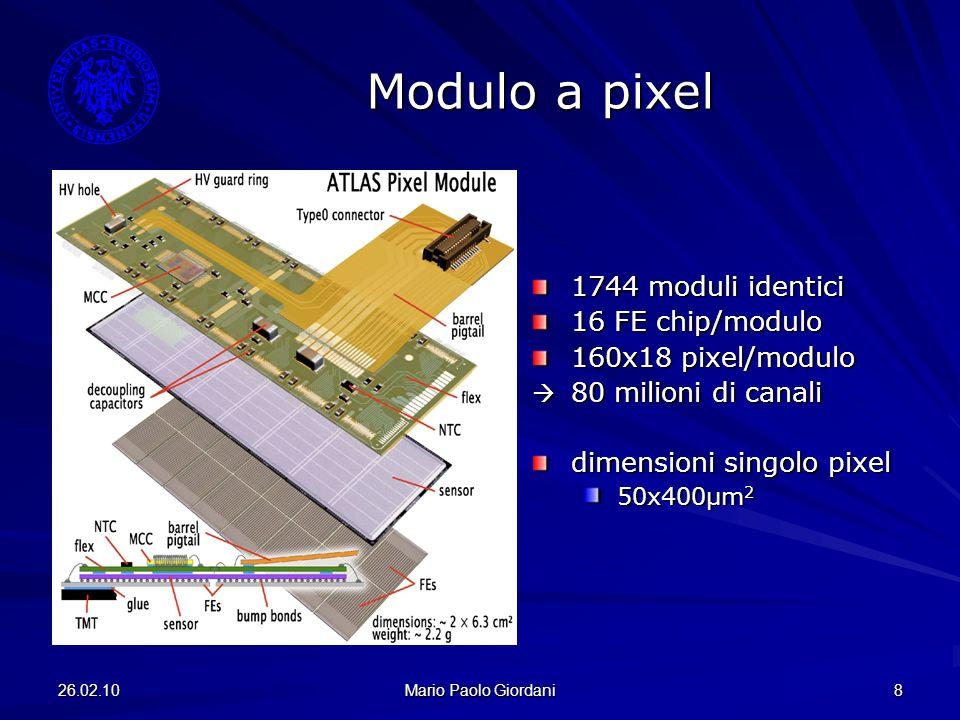 26.02.10 Mario Paolo Giordani 8 Modulo a pixel 1744 moduli identici 16 FE chip/modulo 160x18 pixel/modulo 80 milioni di canali 80 milioni di canali di