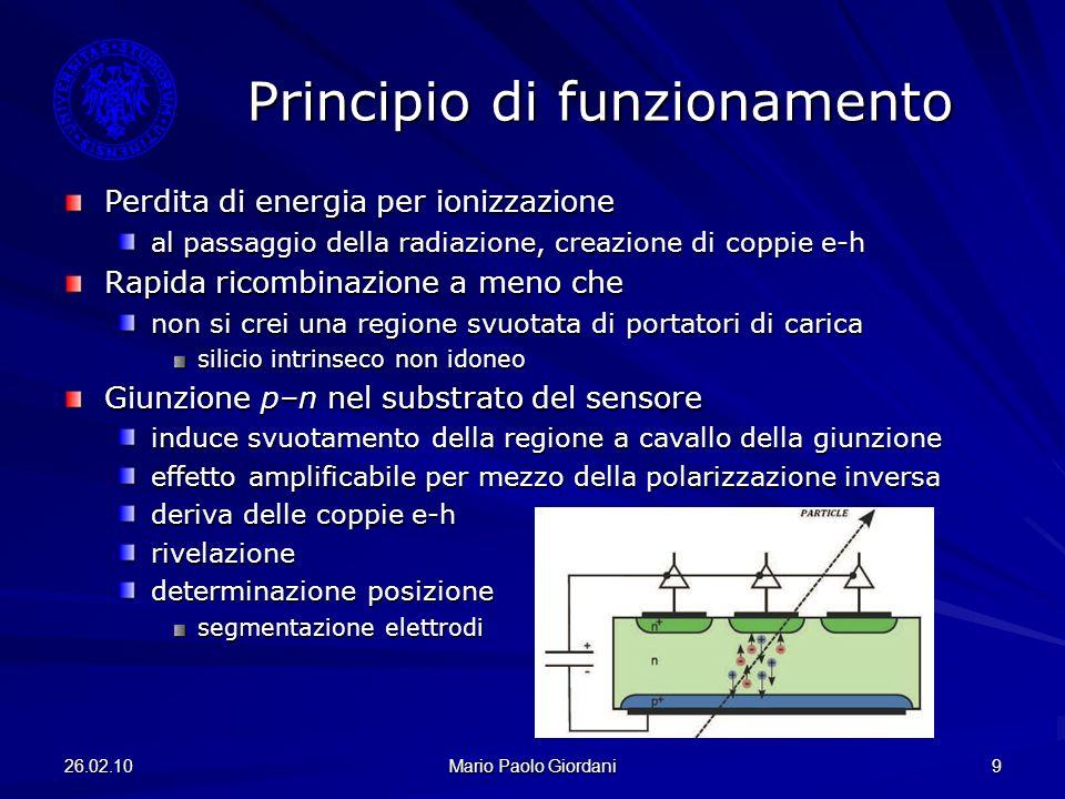 26.02.10 Mario Paolo Giordani 9 Principio di funzionamento Perdita di energia per ionizzazione al passaggio della radiazione, creazione di coppie e-h
