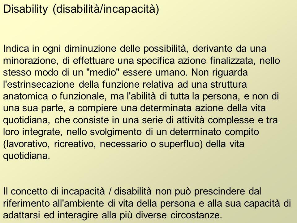 Handicap Può derivare da una menomazione, ma in genere è in relazione alla disability con compromissione della sfera sociale dell individuo.