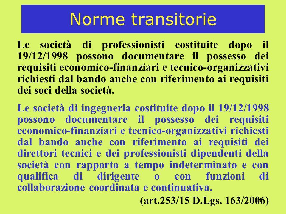 15 Norme transitorie Le società di professionisti costituite dopo il 19/12/1998 possono documentare il possesso dei requisiti economico-finanziari e tecnico-organizzativi richiesti dal bando anche con riferimento ai requisiti dei soci della società.