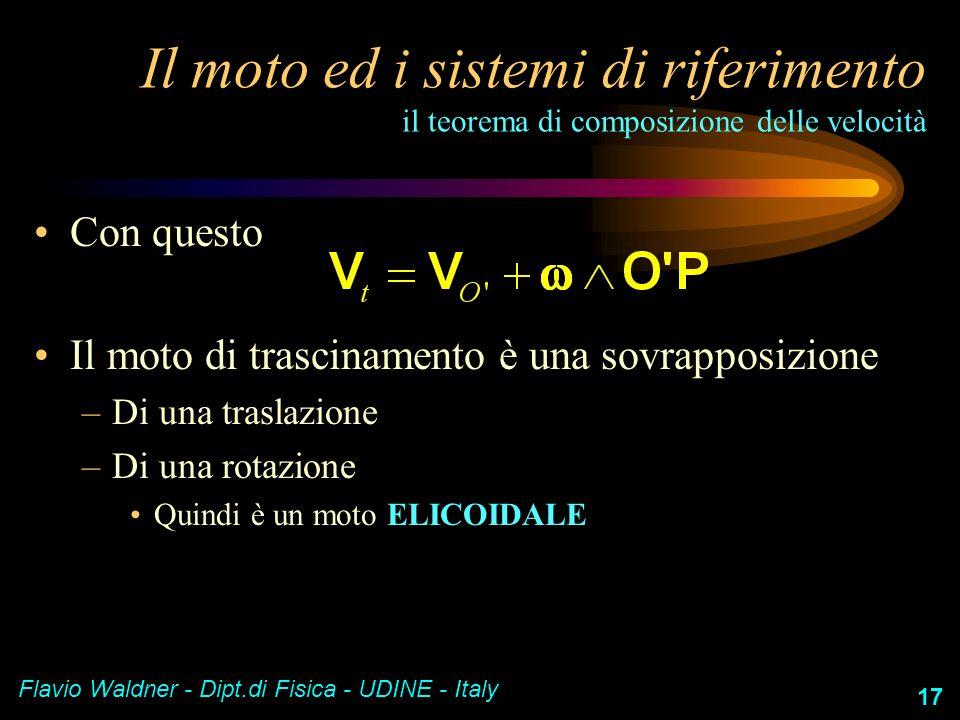 Flavio Waldner - Dipt.di Fisica - UDINE - Italy 17 Il moto ed i sistemi di riferimento il teorema di composizione delle velocità Con questo Il moto di