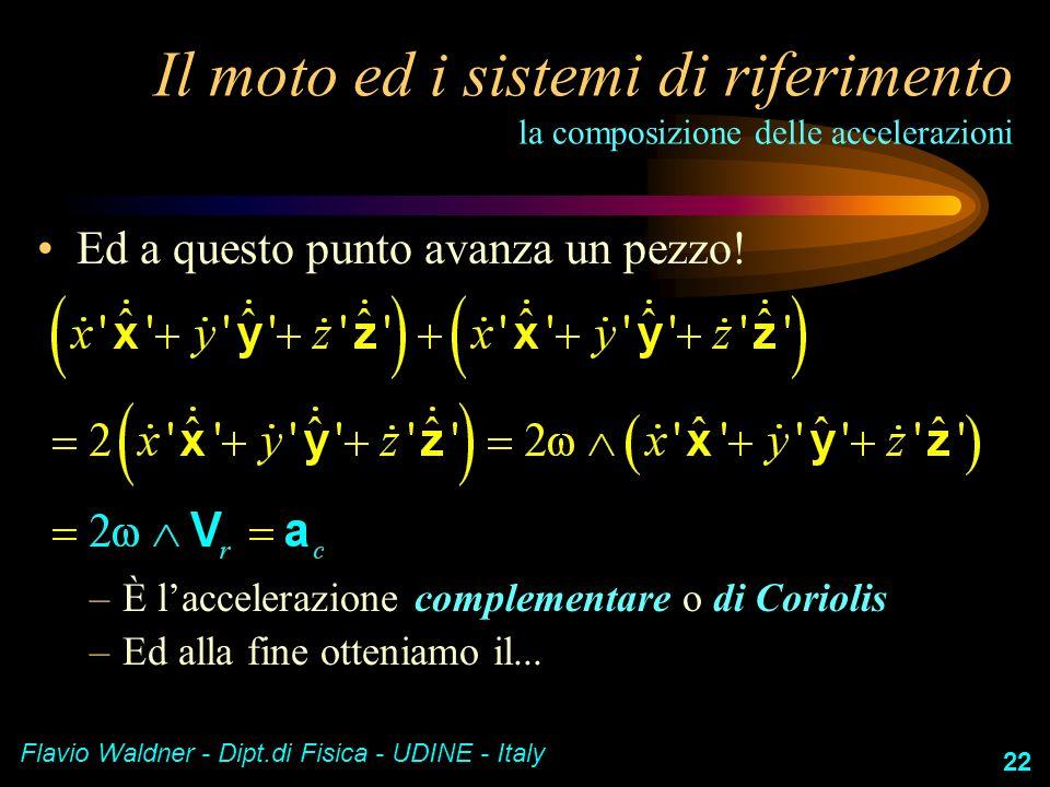 Flavio Waldner - Dipt.di Fisica - UDINE - Italy 22 Il moto ed i sistemi di riferimento la composizione delle accelerazioni Ed a questo punto avanza un