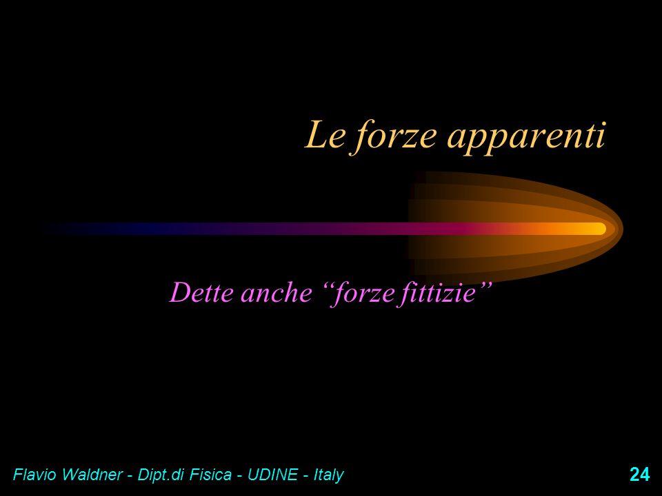 Flavio Waldner - Dipt.di Fisica - UDINE - Italy 24 Le forze apparenti Dette anche forze fittizie