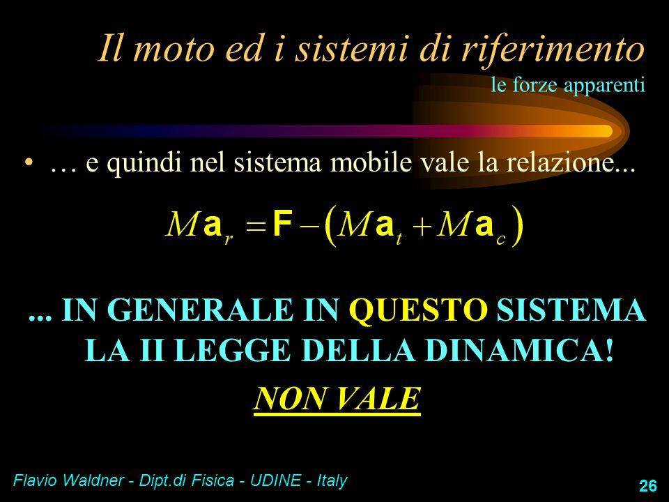 Flavio Waldner - Dipt.di Fisica - UDINE - Italy 26 Il moto ed i sistemi di riferimento le forze apparenti … e quindi nel sistema mobile vale la relazi