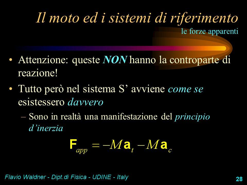 Flavio Waldner - Dipt.di Fisica - UDINE - Italy 28 Il moto ed i sistemi di riferimento le forze apparenti Attenzione: queste NON hanno la controparte
