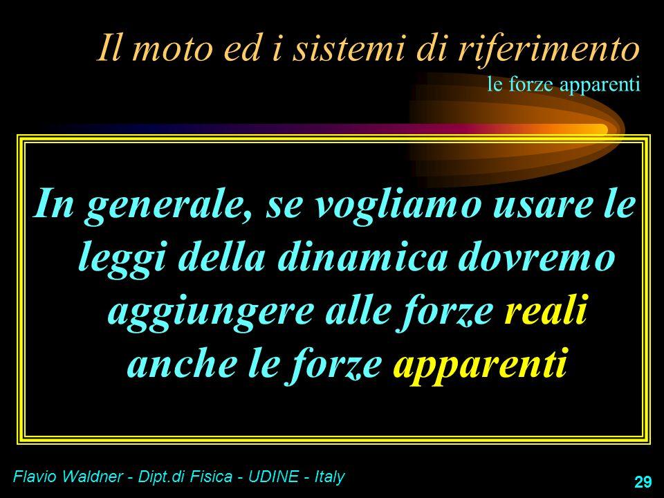 Flavio Waldner - Dipt.di Fisica - UDINE - Italy 29 Il moto ed i sistemi di riferimento le forze apparenti In generale, se vogliamo usare le leggi dell