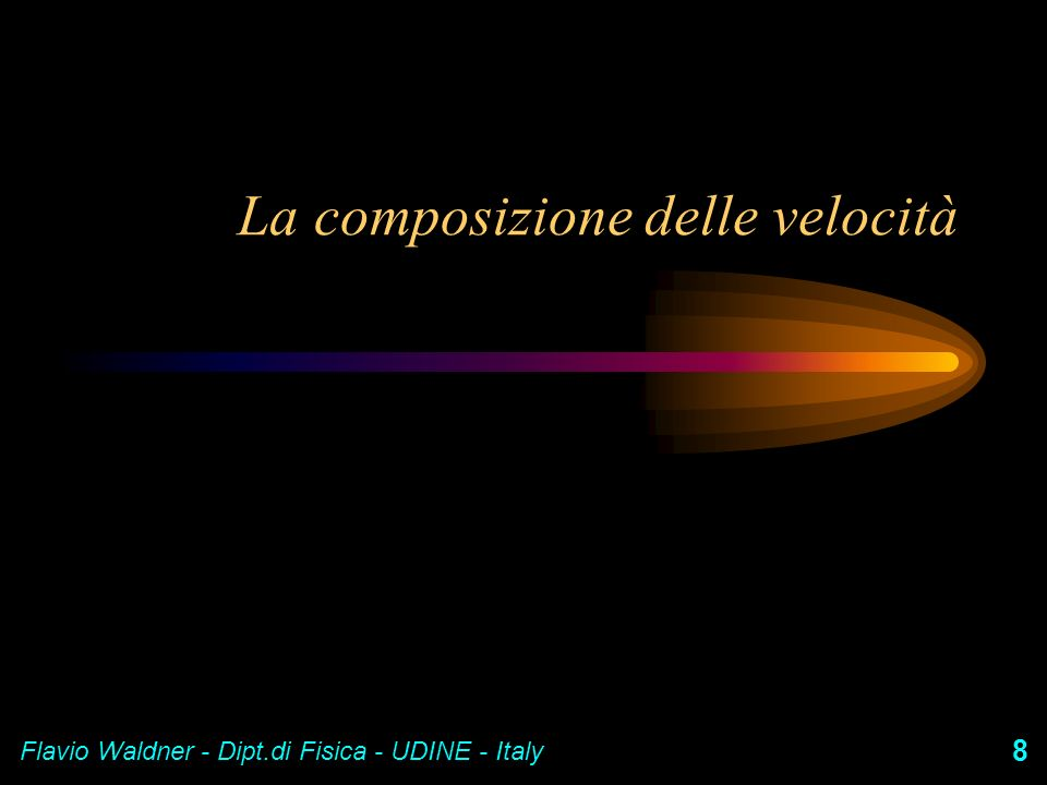Flavio Waldner - Dipt.di Fisica - UDINE - Italy 8 La composizione delle velocità