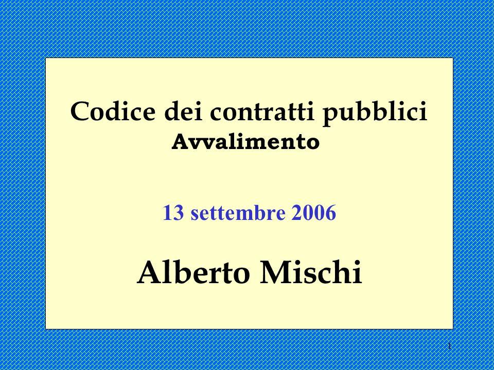 1 Codice dei contratti pubblici Avvalimento 13 settembre 2006 Alberto Mischi