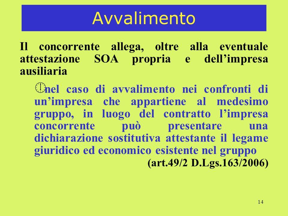 14 Avvalimento Il concorrente allega, oltre alla eventuale attestazione SOA propria e dellimpresa ausiliaria ¼ nel caso di avvalimento nei confronti d