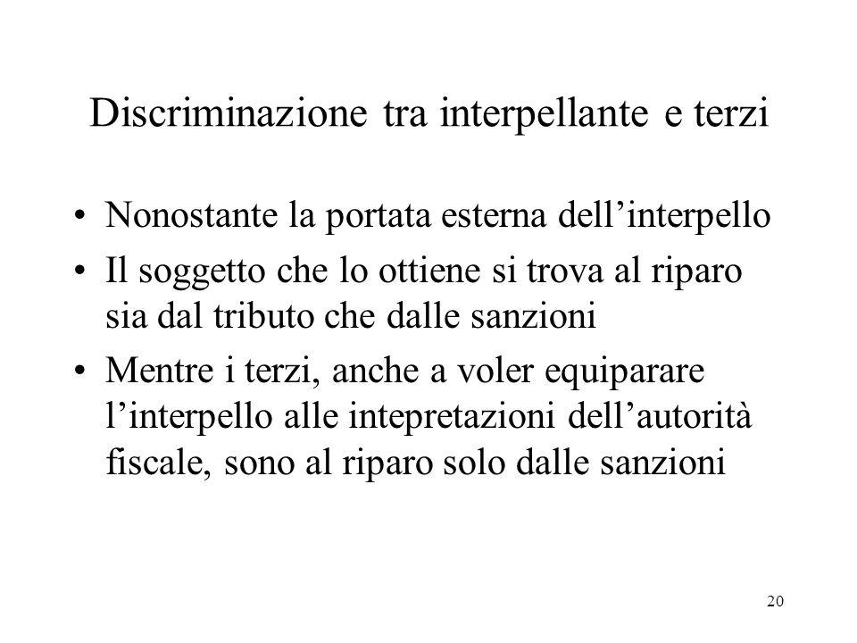 20 Discriminazione tra interpellante e terzi Nonostante la portata esterna dellinterpello Il soggetto che lo ottiene si trova al riparo sia dal tribut