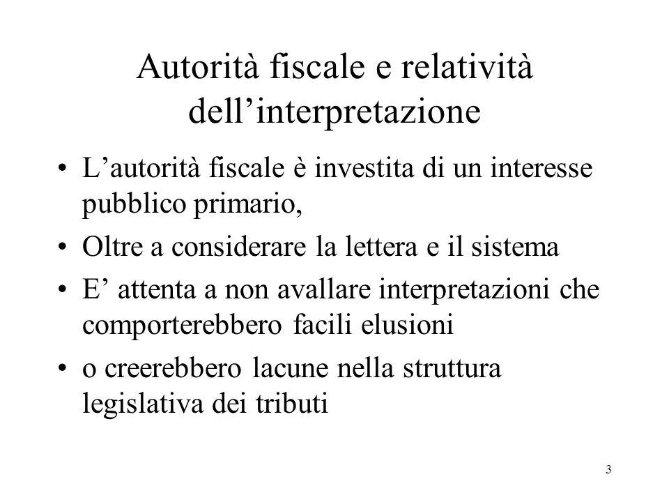 3 Autorità fiscale e relatività dellinterpretazione Lautorità fiscale è investita di un interesse pubblico primario, Oltre a considerare la lettera e