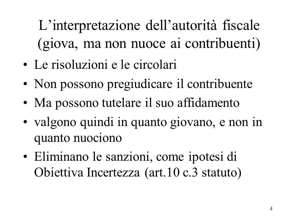 4 Linterpretazione dellautorità fiscale (giova, ma non nuoce ai contribuenti) Le risoluzioni e le circolari Non possono pregiudicare il contribuente M