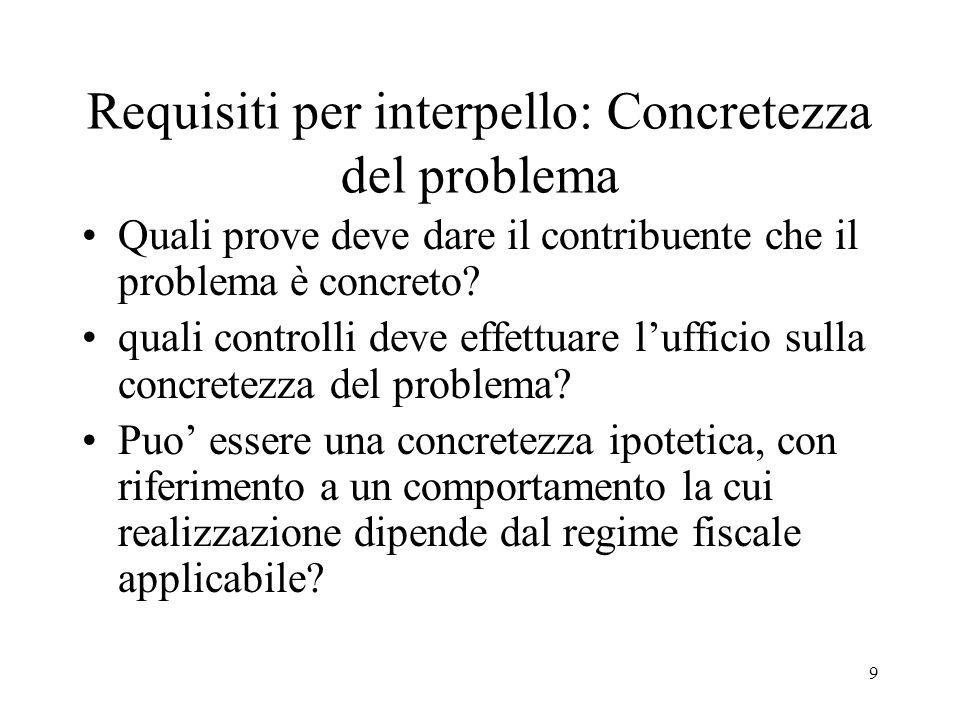 9 Requisiti per interpello: Concretezza del problema Quali prove deve dare il contribuente che il problema è concreto? quali controlli deve effettuare