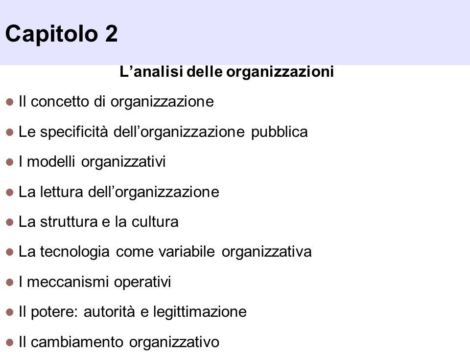 Capitolo 2 Lanalisi delle organizzazioni Il concetto di organizzazione Le specificità dellorganizzazione pubblica I modelli organizzativi La lettura d