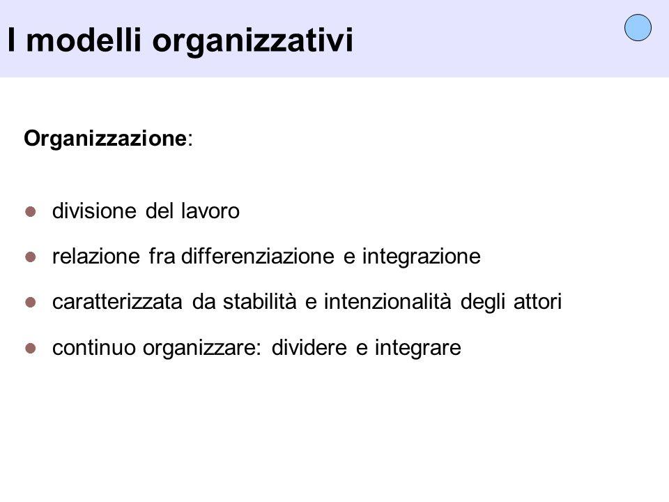 I modelli organizzativi Organizzazione: divisione del lavoro relazione fra differenziazione e integrazione caratterizzata da stabilità e intenzionalit