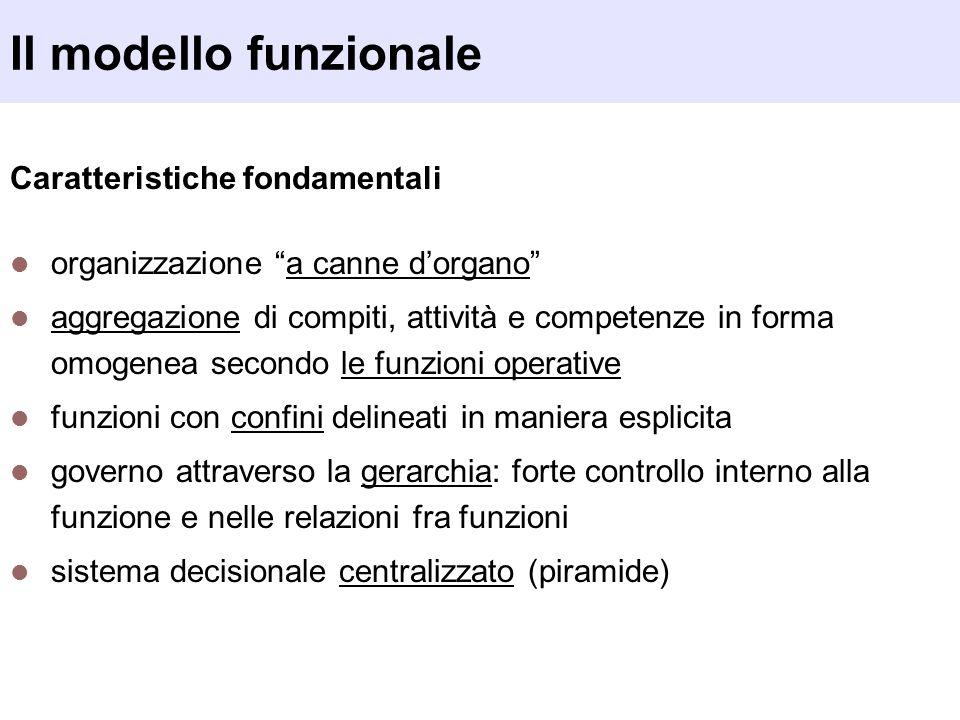 Il modello funzionale Caratteristiche fondamentali organizzazione a canne dorgano aggregazione di compiti, attività e competenze in forma omogenea sec