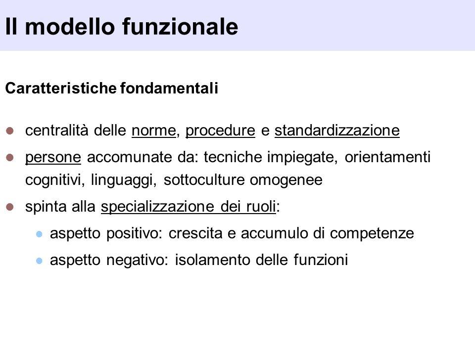 Caratteristiche fondamentali centralità delle norme, procedure e standardizzazione persone accomunate da: tecniche impiegate, orientamenti cognitivi,