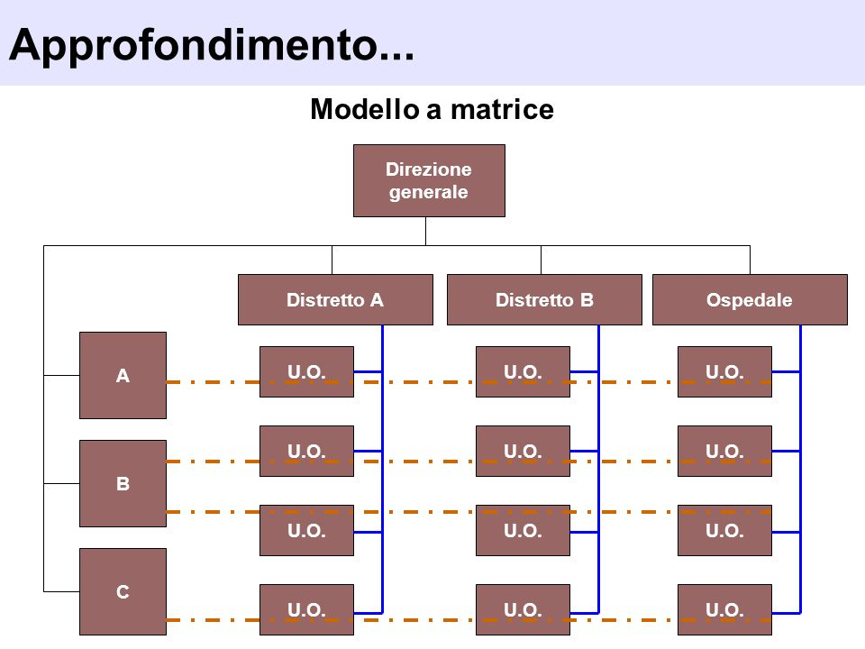Modello a matrice Direzione generale OspedaleDistretto B Approfondimento... Distretto A A B C U.O.