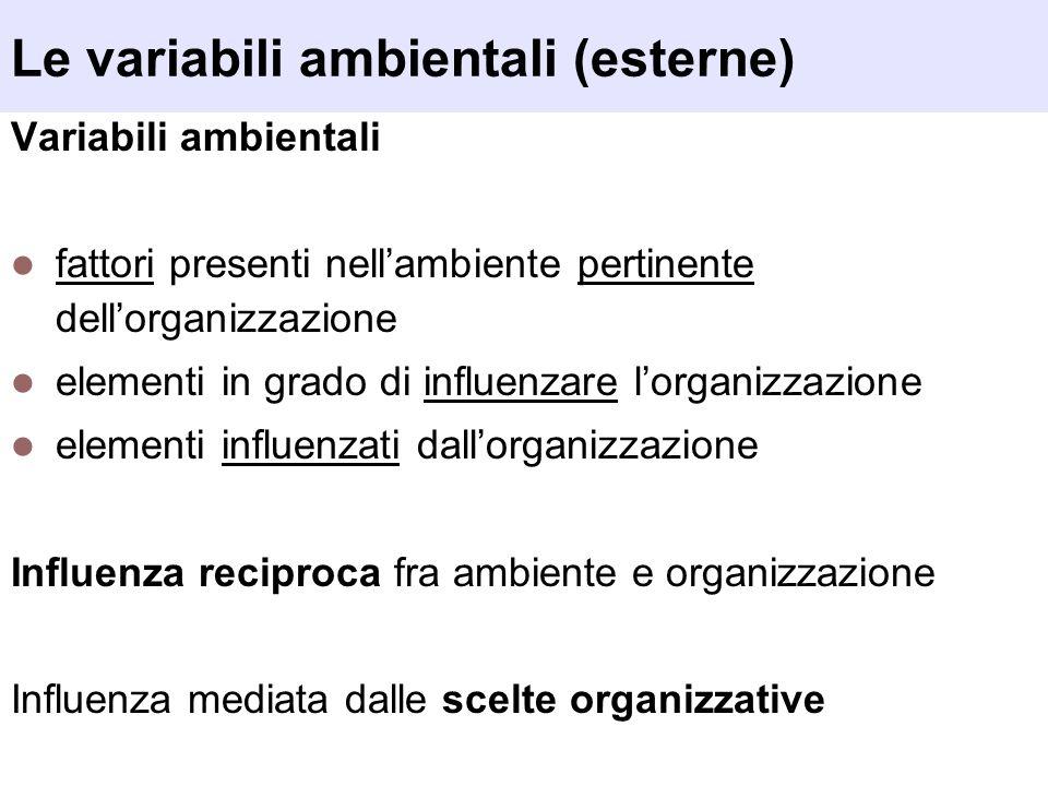 Le variabili ambientali (esterne) Variabili ambientali fattori presenti nellambiente pertinente dellorganizzazione elementi in grado di influenzare lo